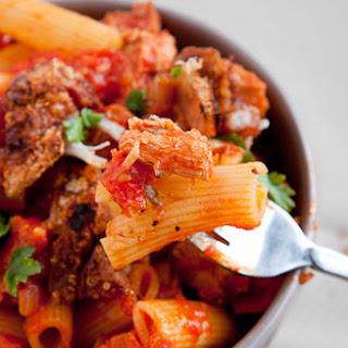 Roast Pork in Spicy Tomato sauce on Pasta.