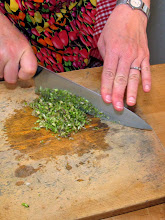 Photo: chopping cilantro roots