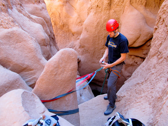 The rappel into the Goblin's Lair