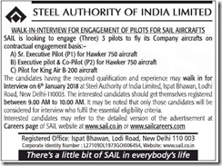 SAIL Walk in Intierview Notification 2018 www.indgovtjobs.in