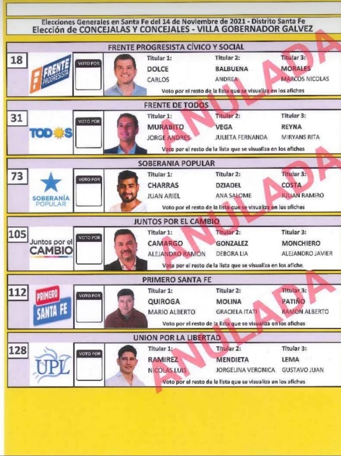 Se conoció la Boleta Oficial de Candidatos a concejales  en Vgg