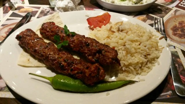 Lamb kebab with rice served at Efes Turkish restaurant