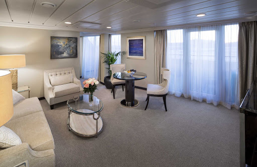 The 786-square-foot living room in the Vista Suite of Oceania's Sirena.