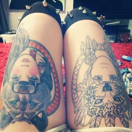 lobo_e_cheetah_cocar_coxa_tatuagem