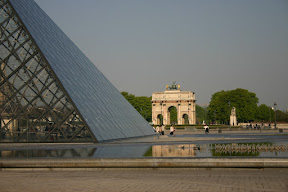 The Louvre pyramid and the Arc de Triomphe du Carrousel