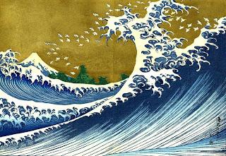 Японская гравюра цунами
