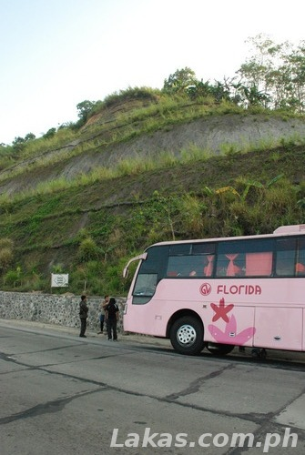 Our bus on the side of a cliff