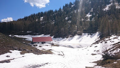 Photo: the seeonalm at a small lake was still surrounded by snow today