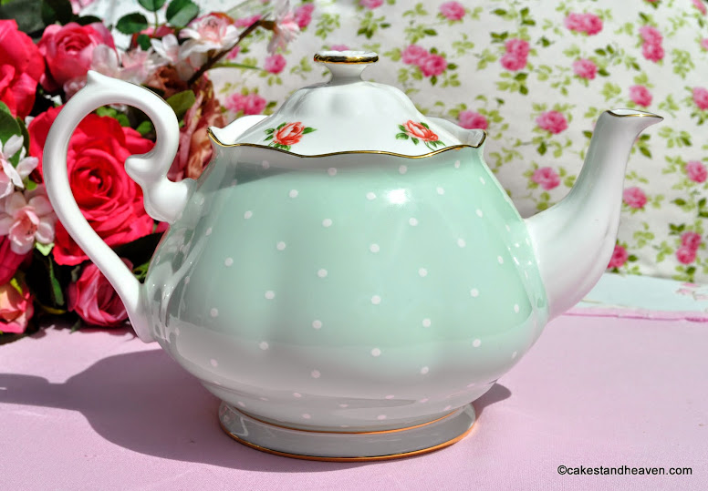 Pretty pink roses and green polka dot bone china 2 pint teapot