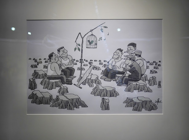 Recollecting (回想) by Fang Tang (方唐) depicting men looking at a caged bird in a deforested area left only with tree stumps