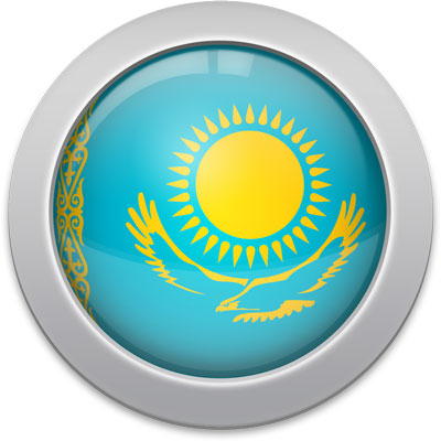 Kazakhstani flag icon with a silver frame