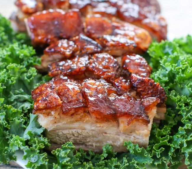 a close-up shot of slice of crispy pork belly