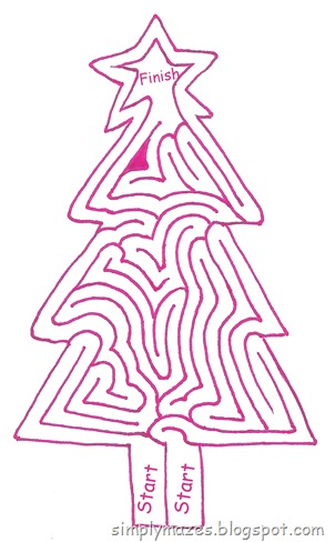 Maze Number 105: Oh, Christmas Tree.  A printable christmas shape maze.