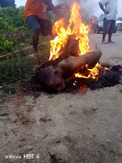 Phone Thief Burnt To Death In Akwa Ibom ( Graphic Photos )