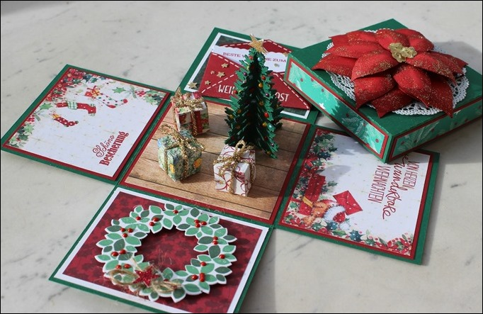 Explosion Box Weihnachten Christmas Poinsettia Christbaum Stampin Up Es weihnachtet sehr 01