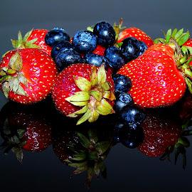 HEALTHY FRUITS by Wojtylak Maria - Food & Drink Fruits & Vegetables ( red, fruits, healthy, blueberries, juicy, black, strawberries, food )