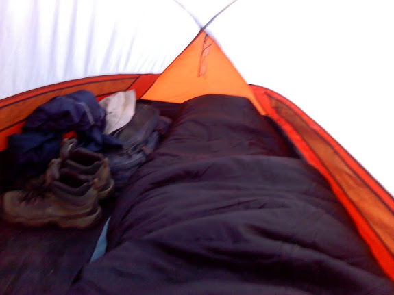 Morning on day three. The condensation inside my tent was frozen!