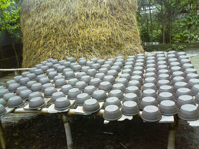 Pottery left for drying in the sun