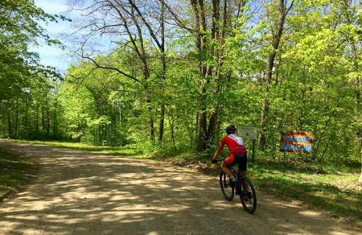 Ben Olson heading down the Maplelag driveway en route to the mountain bike course. May 22nd, 2016.