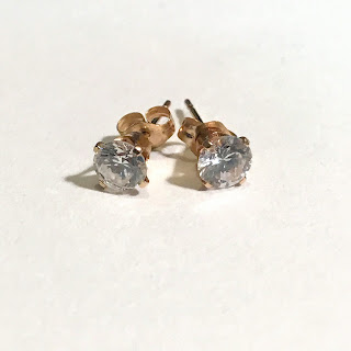 14K Gold and Stone Stud Earrings