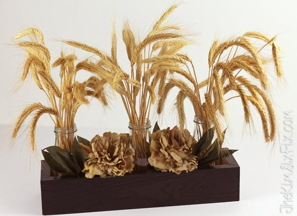 Wheat and fall flower centerpiece