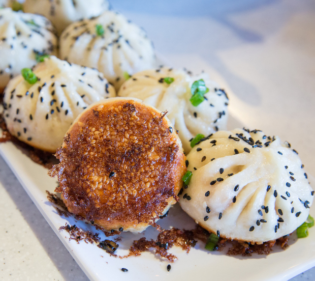 photo showing the crispy bottom on of the Sheng Jian Bao