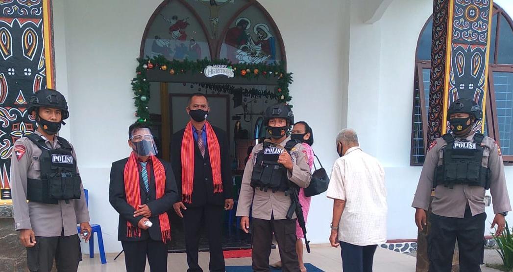 Ciptakan Keamanan, Brimob Batalyon A Pelopor Rutin Berikan PAM Gereja di Balikpapan Setiap Hari Minggu