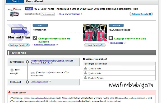 Pesan Online Willer Express Bus S123