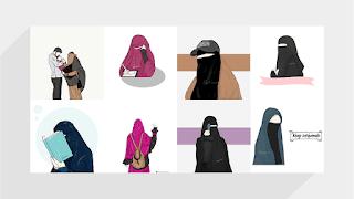 77+ Gambar Kartun Muslimah Bercadar HD
