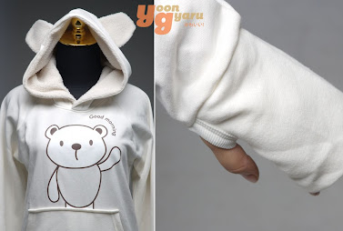 putih, pink,Good Morning Bear, fleece cotton, Hoodie, hoodie korea murah, korea, murah, warna, Pre Order, fashion korea, hoodie lucu