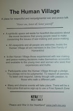 """Photo: """"Human Village"""" - place for everyone to openly & honestly talk about peacemaking & war-making"""