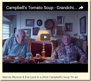 Warren Munson & Eva Lynd, Campbell's Soup ad