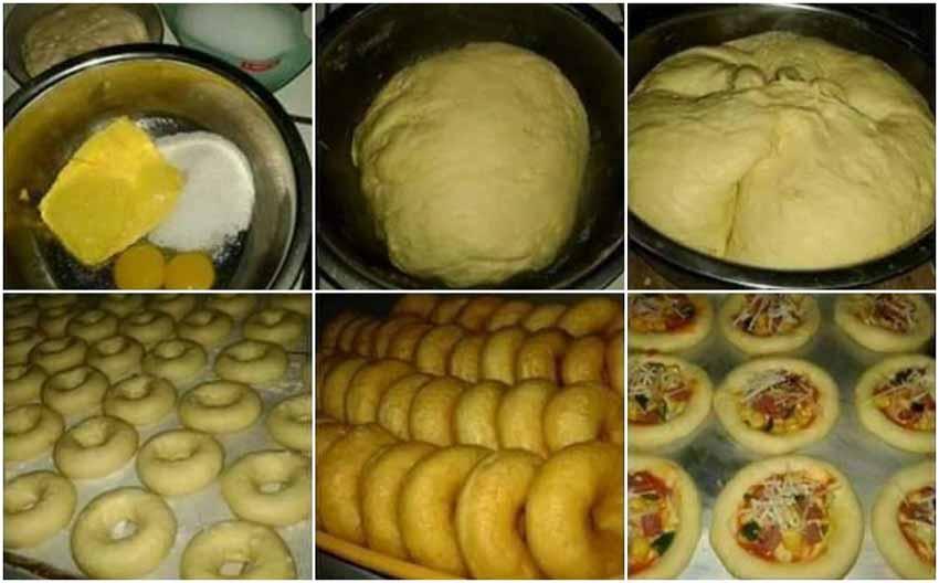 Campurkan dan aduk semua materi A di dalam mangkuk Wowww Satu Adonan Bisa Buat 3 Macam Kue Bund. Donut, Mini Pizza dan Roti Isi