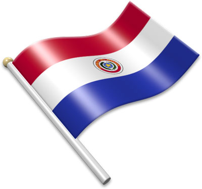 The Paraguayan flag on a flagpole clipart image