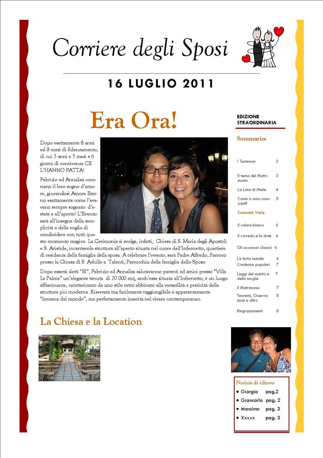 Creando e preparando giornale degli sposi for Degli sposi