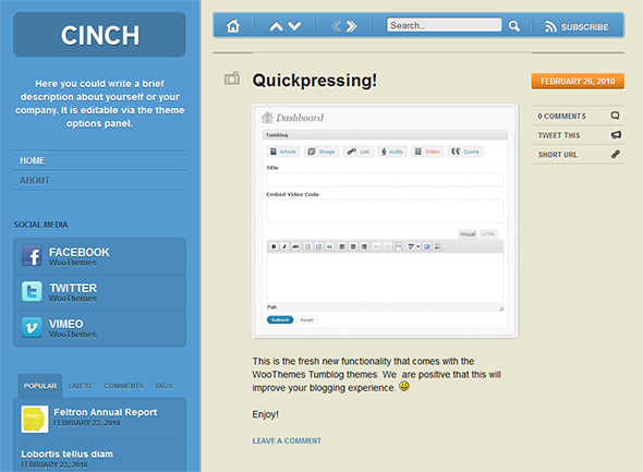 Cinch Tumblr Style WordPress Theme