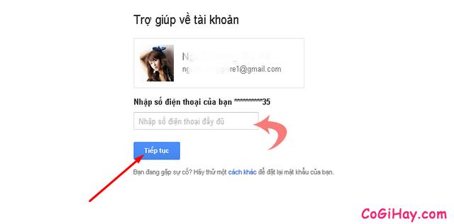nhập số điện thoại xác thực lấy lại nick gmail