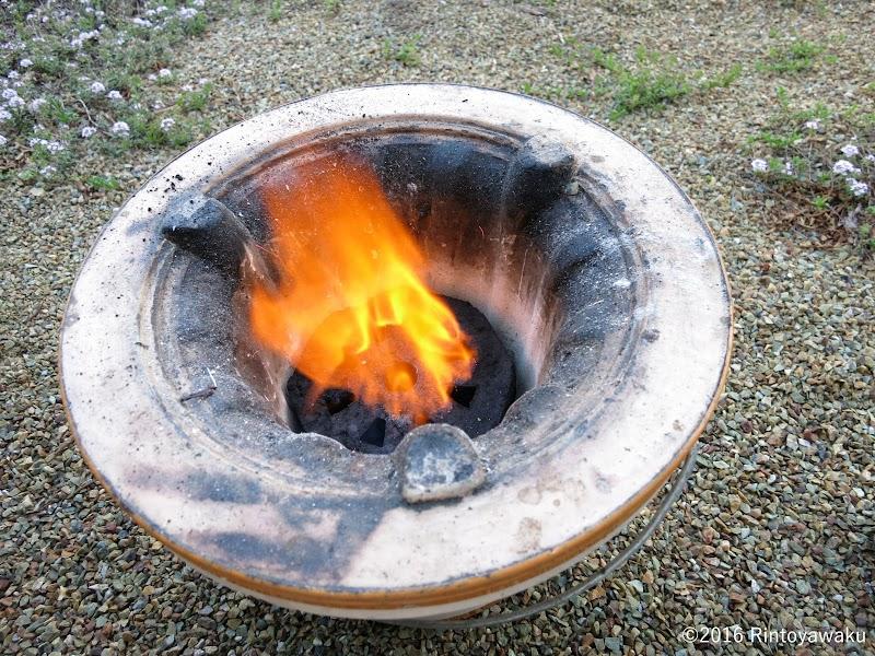 ダイソー七輪用らくらく竹炭-着火