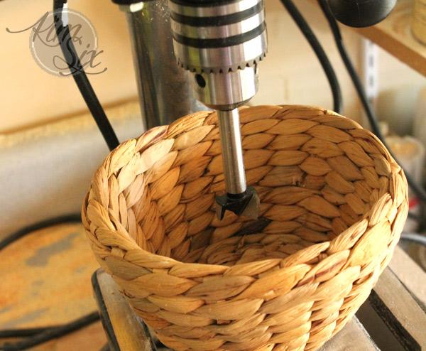 Drilling hole through basket