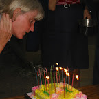 The Birthday girl, Lynn, blows out the candles.