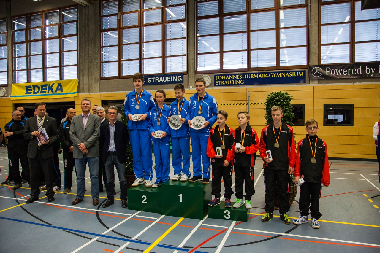 Nationale Deutsche Meisterschaften der Schüler 2016 in Straubing: Siegerehrung Schüler Doppel
