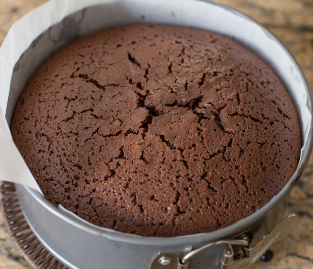 flourless chocolate cake in a springform pan