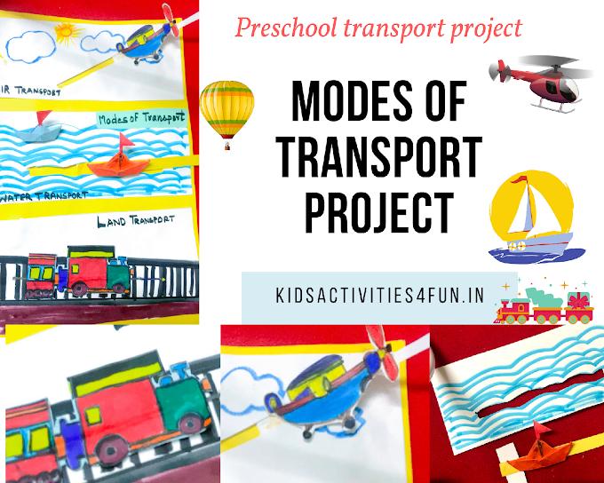 3 Modes of Transport School Project model for kids, & Transport Short Essay and Coloring worksheets