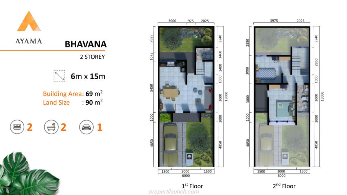 Denah Rumah Ayama Bhumi Amala Tipe Bhavana 2 lantai