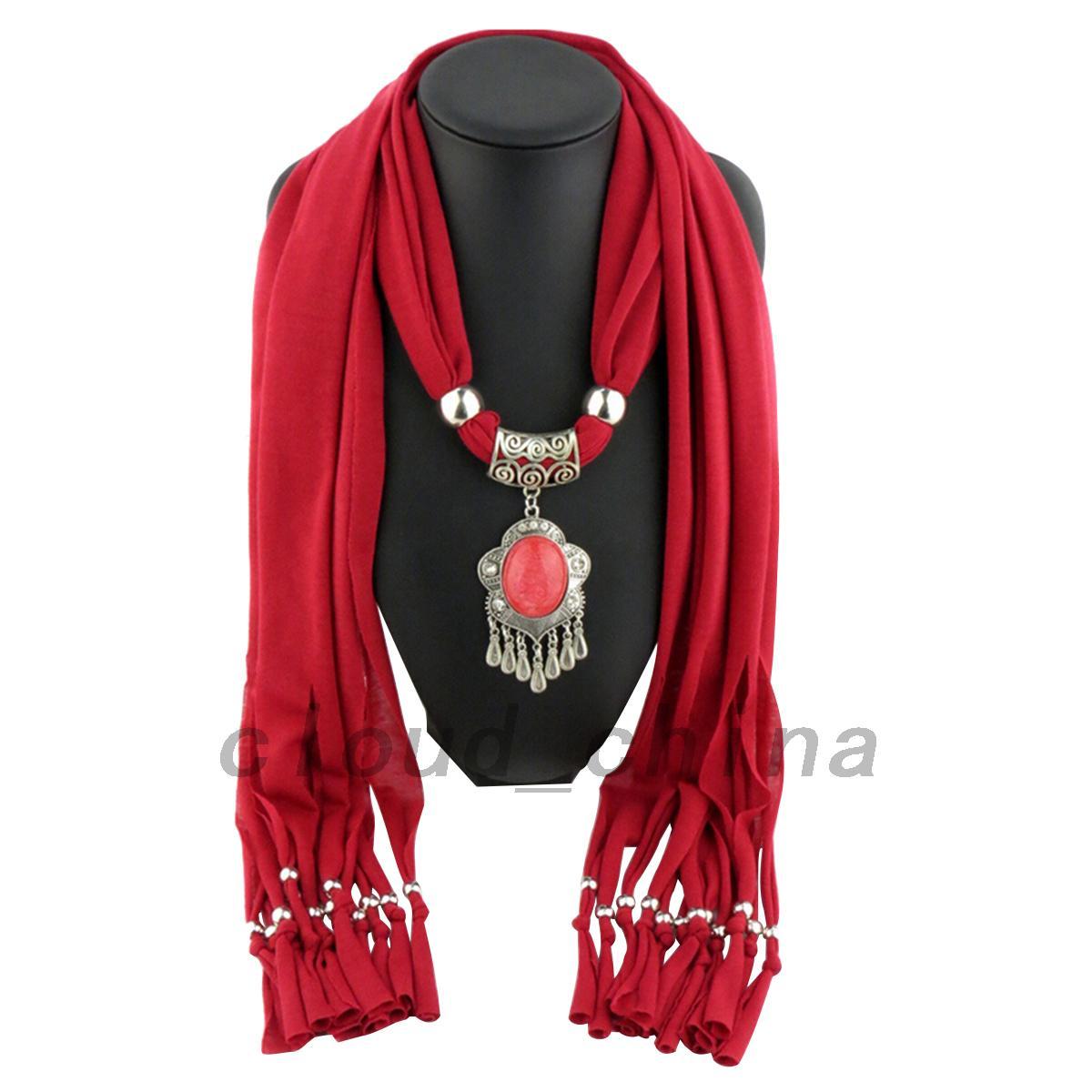 fantastic winter jeweled pendant scarf scarves neck