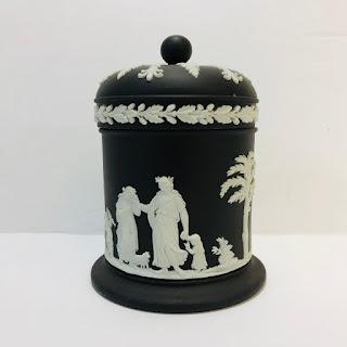 Wedgwood Black Basalt Cigarette Jar