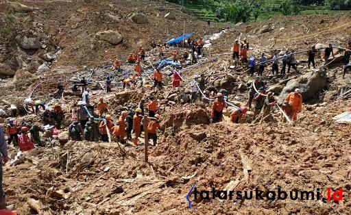 Proses pencarian korban Longsor Cisolok Sukabumi / Foto : Isep Panji