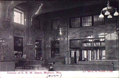 Interior of the Chicago & Northwestern Railway passenger depot, the second to serve East Madison, sometime after its construction in 1910.