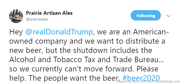 Prairie Artisan Ales Tweets To President Trump About the Shutdown