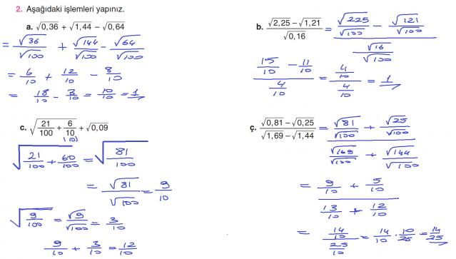 8. Sınıf Matematik Ders Kitabı Cevapları Sayfa 73 Koza Yayınları